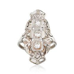 C. 1950 Vintage .80 ct. t.w. Diamond Dinner Ring in 18kt White Gold. Size 8, , default