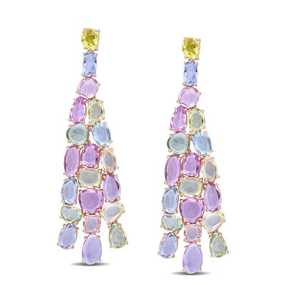 22.00 ct. t.w. Multicolored Sapphire Chandelier Earrings in 14kt Rose Gold
