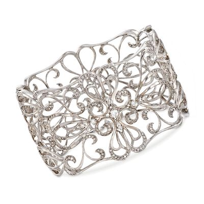 C. 2000 Vintage 3.00 ct. t.w. Diamond Openwork Floral Bangle Bracelet in 14kt White Gold, , default