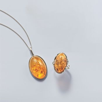 Oval Cognac Amber Pendant Necklace in Sterling Silver, , default