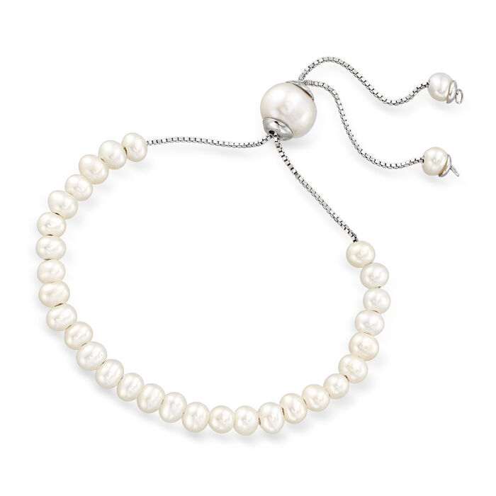 4mm Cultured Pearl and Sterling Silver Bead Jewelry Set: Three Bolo Bracelets