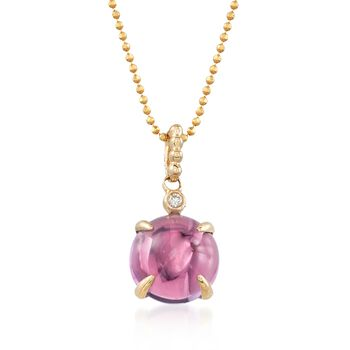 4.00 Carat Cabochon Amethyst Pendant With Diamond Accent in 14kt Yellow Gold, , default