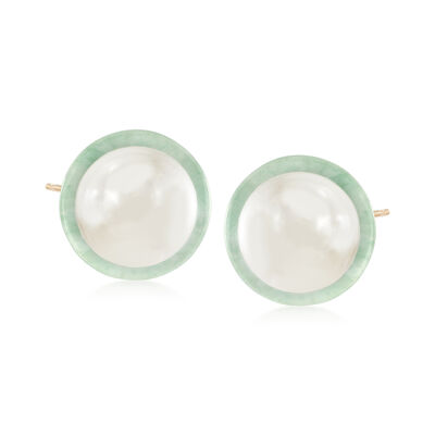 9.5-10mm Cultured Pearl and Green Jade Earrings in 14kt Yellow Gold, , default