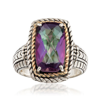 4.20 Carat Mystic Quartz Roped Ring in 14kt Yellow Gold and Sterling Silver