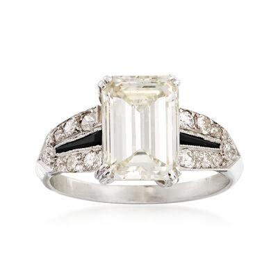 C. 1980 Vintage 3.33 ct. t.w. Diamond Ring With Black Onyx in Platinum , , default