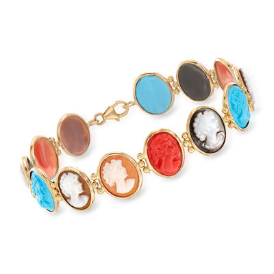 Italian Multi-Gemstone Cameo Bracelet in 14kt Yellow Gold
