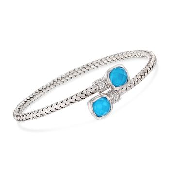 """Charles Garnier """"Cindy"""" Simulated Turquoise Doublet and .25 ct. t.w. CZ Bypass Bracelet in Sterling Silver. 7"""", , default"""