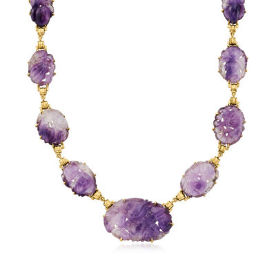 C. 1980 Vintage Amethyst Graduated Necklace in 14kt Yellow Gold