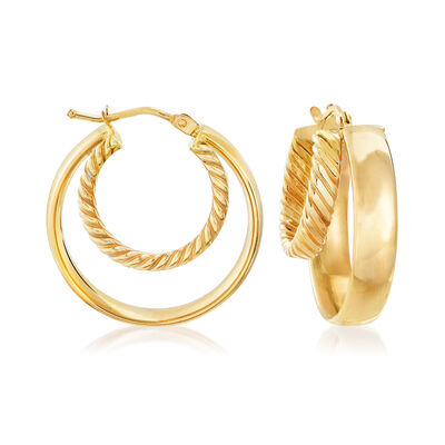 Italian 18kt Yellow Gold Double-Hoop Earrings