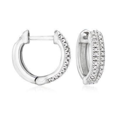 .10 ct. t.w. Diamond Huggie Hoop Earrings in Sterling Silver, , default