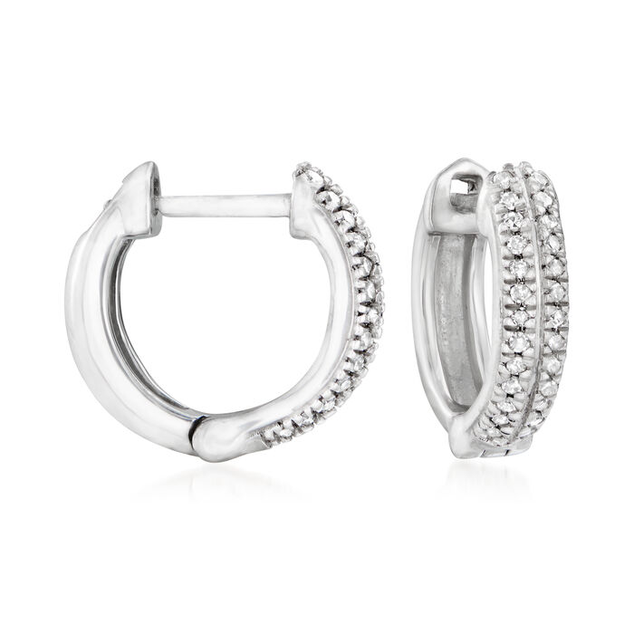 .10 ct. t.w. Diamond Huggie Hoop Earrings in Sterling Silver. 3/8""