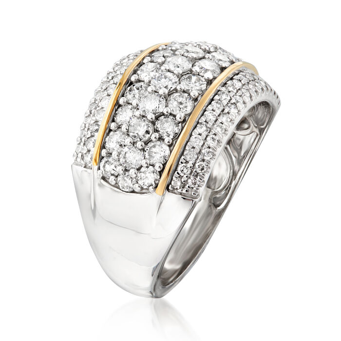 2.00 ct. t.w. Diamond Dome Ring in Sterling Silver with 14kt Yellow Gold