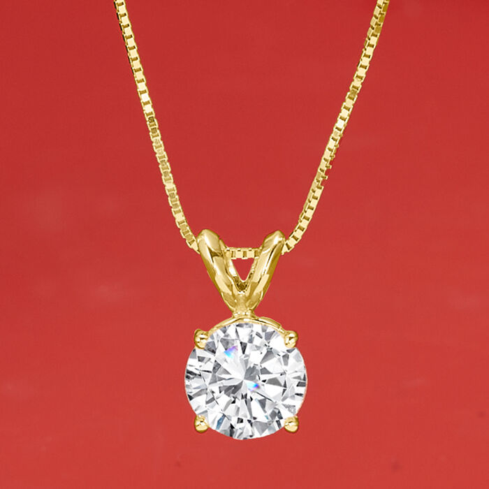 1.20 Carat Diamond Solitaire Necklace in 14kt Yellow Gold
