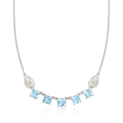 13.00 ct. t.w. Blue Topaz Necklace with Scrolled Sides in Sterling Silver, , default