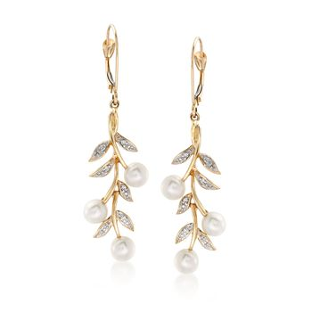 5mm Cultured Pearl and Diamond Accent Leaf Drop Earrings in 14kt Yellow Gold , , default