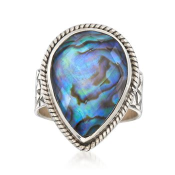 Abalone Shell Doublet Ring in Sterling Silver, , default