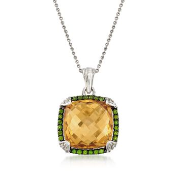 """10.35 ct. t.w. Multi-Stone Pendant Necklace in Sterling Silver. 18"""", , default"""
