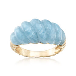 12.00 Carat Milky Aquamarine Shrimp Ring in 14kt Yellow Gold, , default