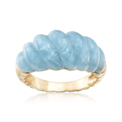 12.00 Carat Milky Aquamarine Shrimp Ring in 14kt Yellow Gold, , default