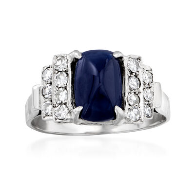 C. 1950 Vintage 2.57 Carat Sapphire and .40 ct. t.w. Diamond Ring in Platinum