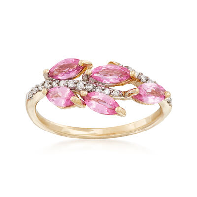 Pink Sapphire and Diamond Leaf Ring in 14kt Yellow Gold, , default