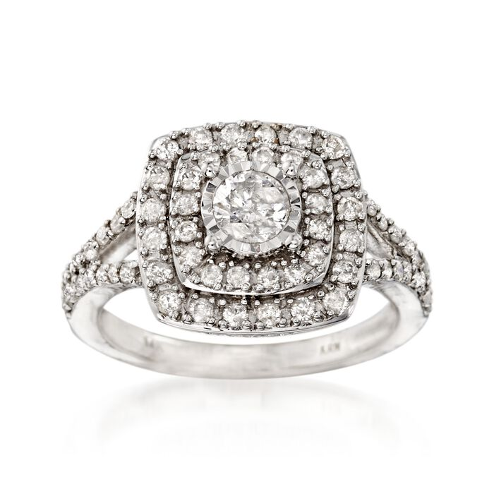 1.03 ct. t.w. Diamond Halo Ring in 14kt White Gold, , default