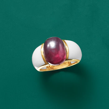 7.75 Carat Garnet and White Agate Ring in 14kt Yellow Gold. Size 9, , default
