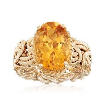 5.00 Carat Citrine Byzantine Ring in 14kt Yellow Gold, , default