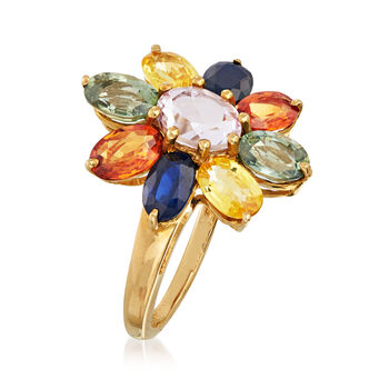 C. 1990 Vintage 5.70 ct. t.w. Multicolored Sapphire Flower Ring in 14kt Yellow Gold. Size 7, , default