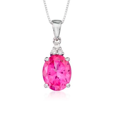 2.50 Carat Pink Topaz Necklace with Diamonds in 14kt White Gold, , default
