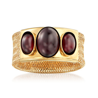 Italian 1.20 ct. t.w. Garnet Mesh Ring in 14kt Yellow Gold