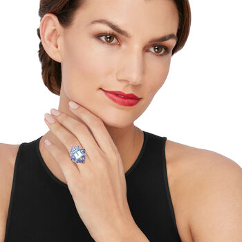 5.45 ct. t.w. Sky Blue Topaz and 2.20 ct. t.w. Tanzanite Ring with Diamond Accents in Sterling Silver, , default