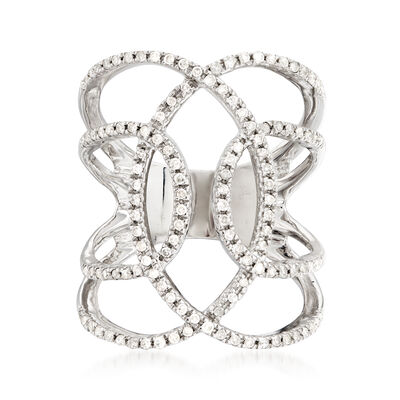 .50 ct. t.w. Diamond Open Circle Ring in Sterling Silver