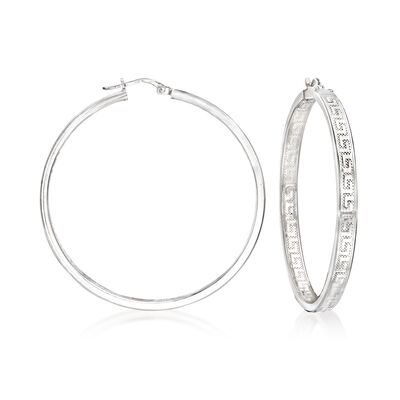 Italian Sterling Silver Inside-Outside Greek Key Hoop Earrings
