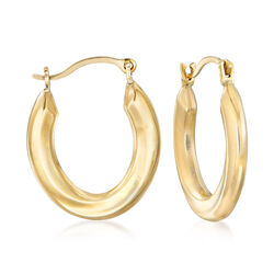 "14kt Yellow Gold Small Oval Hoop Earrings. 5/8"", , default"