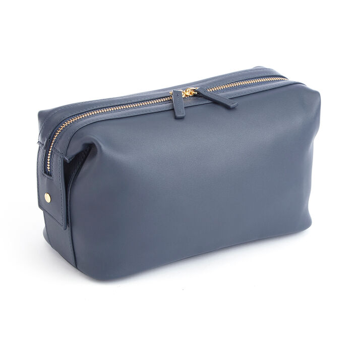 Royce Blue Pebbled Leather Double-Zip Toiletry Bag, , default