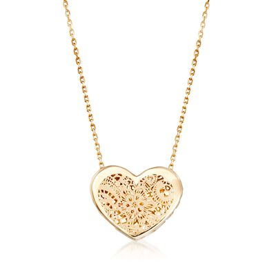 Italian 18kt Yellow Gold Floral Openwork Heart Necklace