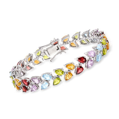20.70 ct. t.w. Multi-Gemstone Leaf Tennis Bracelet in Sterling Silver, , default