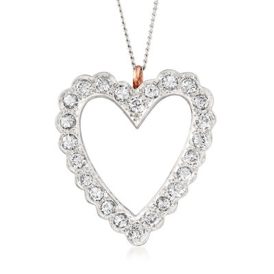 C. 1970 Vintage 1.45 ct. t.w. Diamond Heart Pin Pendant in 14kt White Gold, , default