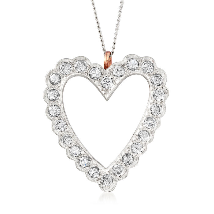 C. 1970 Vintage 1.45 ct. t.w. Diamond Heart Pin Pendant in