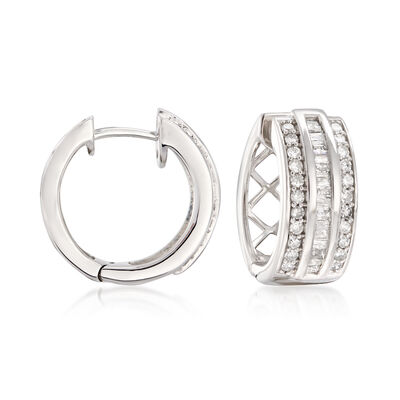 .70 ct. t.w. Baguette and Round Diamond Huggie Hoop Earrings in Sterling Silver, , default