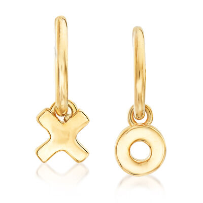 14kt Yellow Gold X and O C-Hoop Earrings, , default