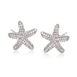 .76 ct. t.w. CZ Starfish Earrings in Sterling Silver, , default