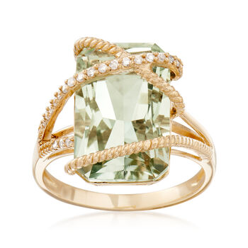 7.00 Carat Green Prasiolite and .12 ct. t.w. Diamond Ring in 14kt Yellow Gold, , default