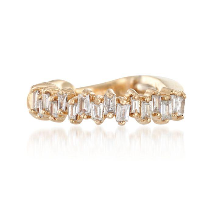 .10 ct. t.w. Baguette Diamond Single Ear Cuff in 14kt Yellow Gold