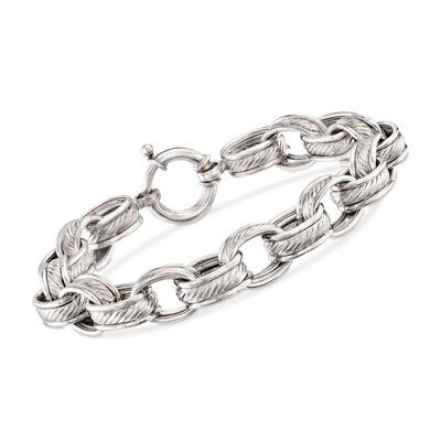 Sterling Silver Roped Oval-Link Bracelet, , default