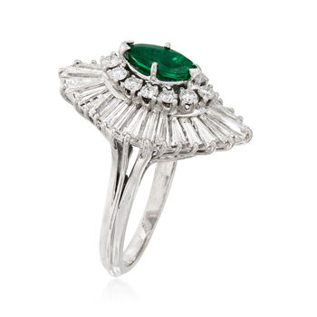 C. 1970 Vintage .45 Carat Emerald and 2.35 ct. t.w. Diamond Cocktail Ring in 14kt White Gold. Size 6, , default