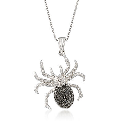 Black and White Diamond-Accented Spider Pendant Necklace in Sterling Silver, , default