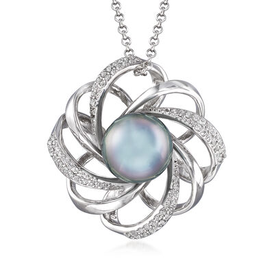 10-11mm Black Cultured Tahitian Pearl and .50 ct. t.w. White Topaz Pendant Necklace in Sterling Silver