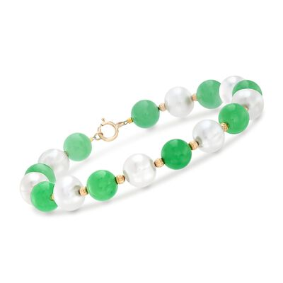 Green Jade and 8-8.5mm Cultured Pearl Bead Bracelet in 14kt Yellow Gold , , default